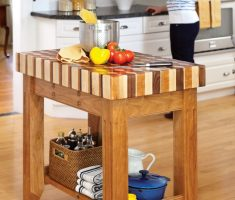 small wooden kitchen island cart