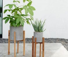 stylish modern garden pots with buffer wooden