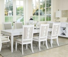 stylish white dining table and chairs