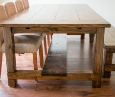 suite diy farmhouse dining table reclaimed with chairs and bench
