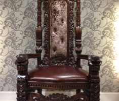 the king high back chair wooden materials