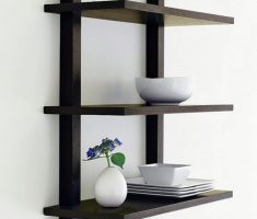 three level black wall mount shelf design for minimalist decar wall