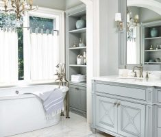traditional bathroom designs with chandelier