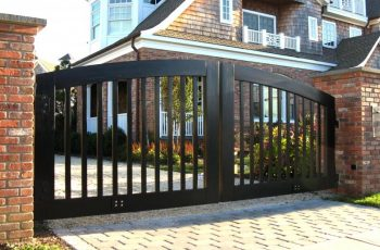 traditional-modern-front-gate-designs-with-black-wooden-materil-for-old-country-house