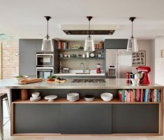 trendy modern small kitchen with island