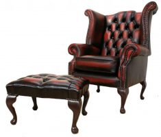 tufted leather high back chair with ottoman