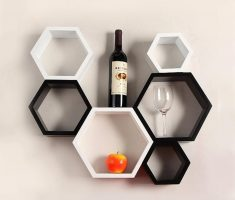 unique hexagonal style of wall mount shelf design