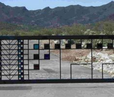 unique modern front gate designs with mosaic style