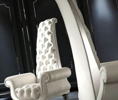 unique modern tufted high back chair with leather design and arms