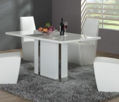 unique stylish white dining table and 4 chairs