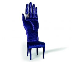 unique velvet blue high back chair with hand design