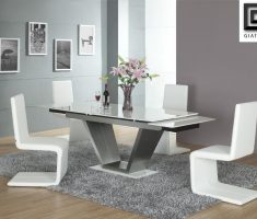 unique white dining table and 4 perth chairs