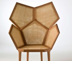 unique wooden high back chair with rattan
