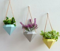 unique and cute hanging modern garden pots prism diamond design