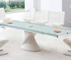 unusual white glass dining table and unique perth chairs