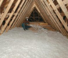 white attic insulation blown