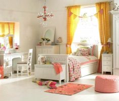 white girls bedroom furniture with gold yellow curtains