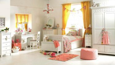white-girls-bedroom-furniture-with-gold-yellow-curtains