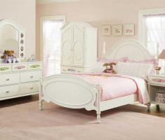white ivory girls bedroom furniture with pink blanket