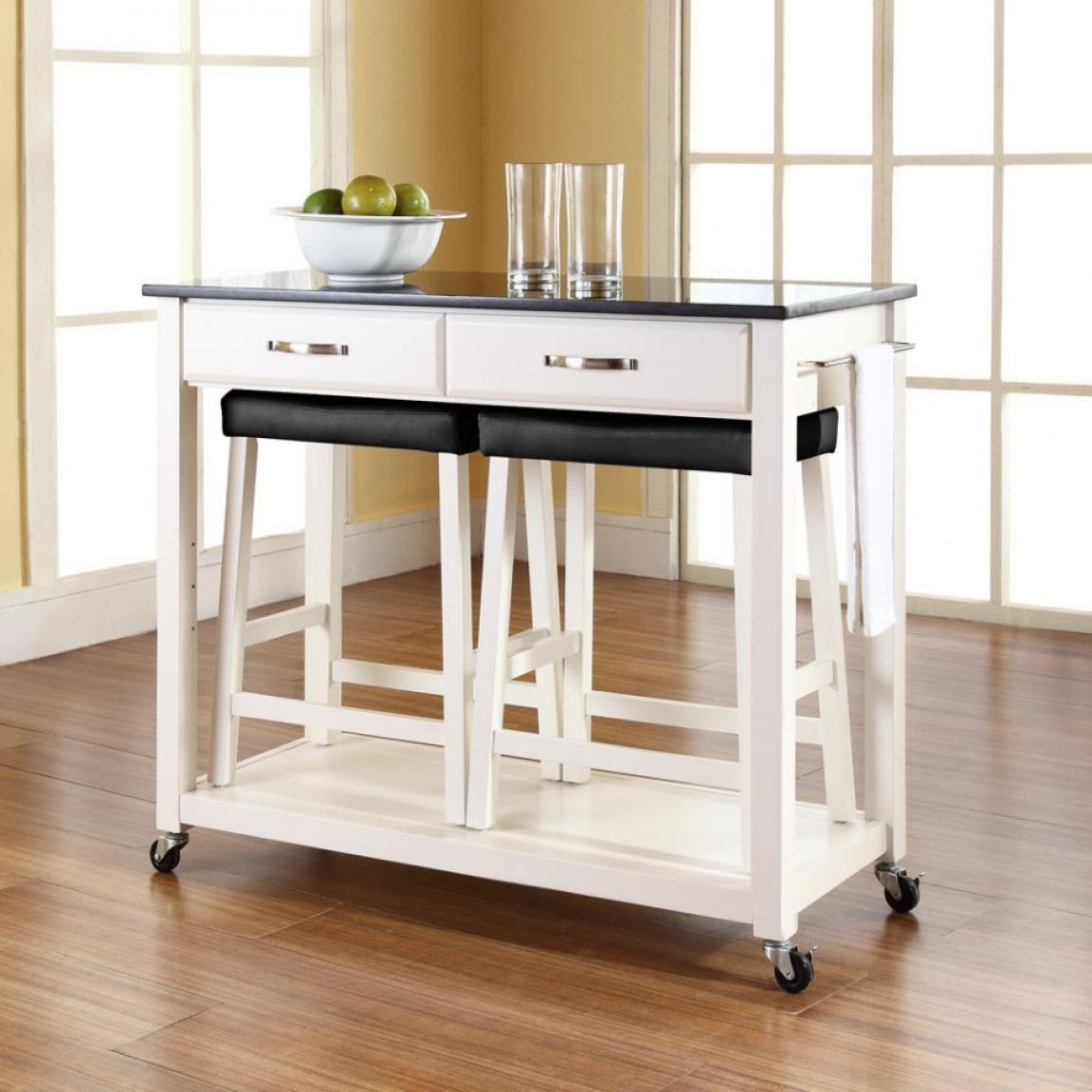 White-kitchen-island-cart-with-stools