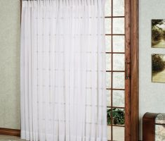 white patio door curtain with wooden framed