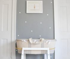 white polka dot wall decals and grey wall paint for nursery