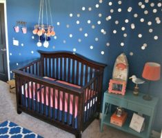 white polka dot wall decals with blue wall paint for nursery