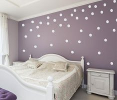 white polka dot wall decals with purple wall paint for bedroom