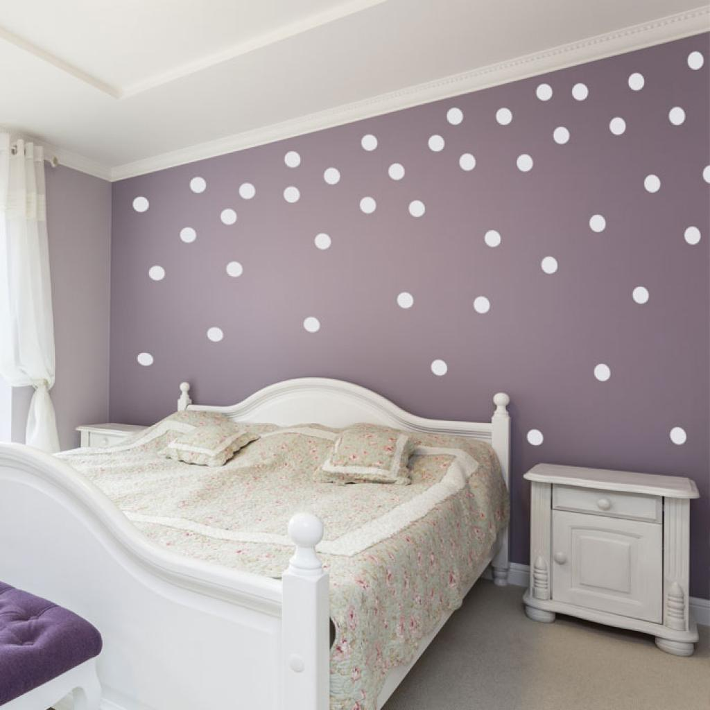 White polka dot wall decals with purple wall paint for bedroom for How to make polka dots on wall