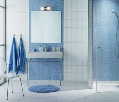 white tile floor with mosaic blue bathroom tiles wall