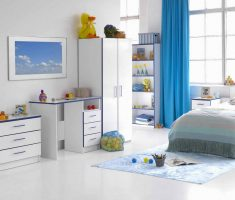 white and blue modern girls bedroom furniture