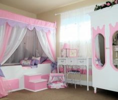 white and pink girls bedroom furniture themed with white cabinets