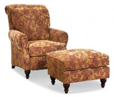 wonderful high back chair with ottoman and floral decor