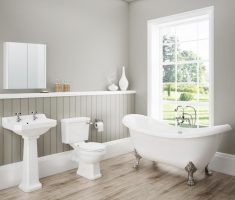 wonderful small traditional bathroom designs with light hardwood and grey wall