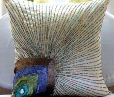 wonderful throw pillow covers with peacocks feather decoration