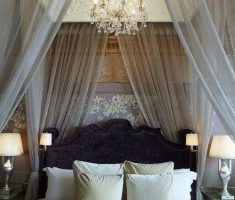 wonderfull diy modern canopy beds with glass chandelier