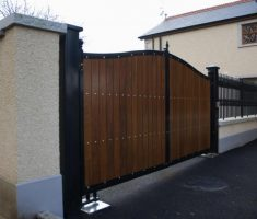 wood front gate designs with metal iron arrow fences
