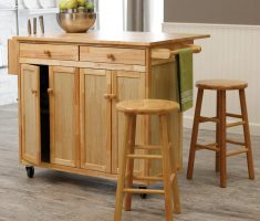 wooden kitchen island cart with seaint tools