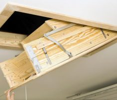 wooden pull down attic stairs