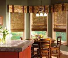 wooden roll slide curtain for modern window treatments on kitchen