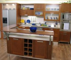 wooden small kitchen with island