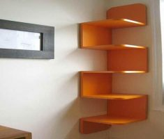 zigzag wall mount shelf design for corner wall space