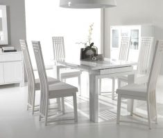 dining room sets white leather chairs