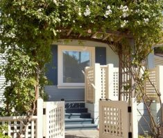 tiny wooden white front gate designs for small house