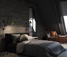 adorable black bedroom decorating ideas with grey blanket for mens apartment