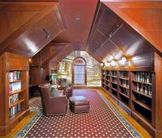 attic storage ideas for reading library room with book shelves