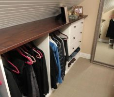 attic storage ideas with hanger and drawers