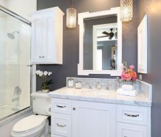 beautiful small bathroom remodelling with hanging white cabinet sink