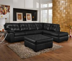 black leather sofa l shaped with ottoman