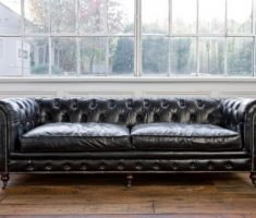 black leather sofa low backed